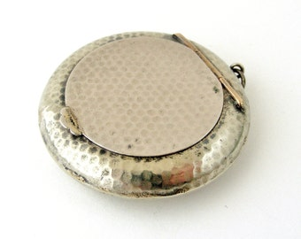 Antique French pill box or powder compact locket with mirror