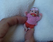 OOak miniature baby girl with micro-magnetic pacifier for Dollhouse 1:12 scale