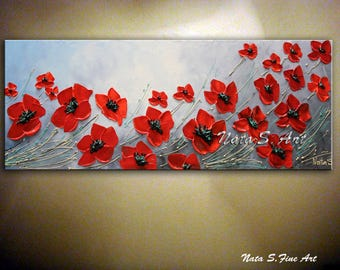 Red Poppy Painting Poppies Field Wild Poppy Seasons Abstract Floral Art Palette Knife Home Decor Gift Idea Red Black White Art by Nata S.