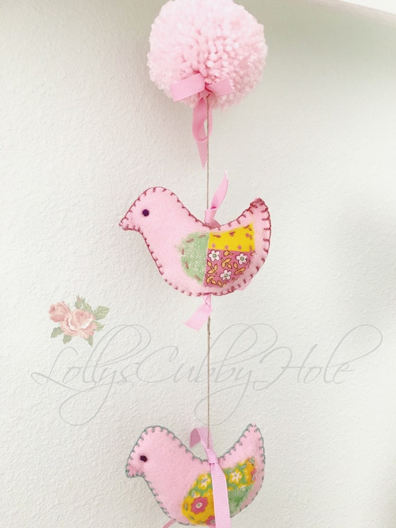 Pink Bird Mobile - Felt Birds - Pom Pom - Spring -  Summer - Decoration - Nursery - Baby  Decor - Wall Hanging - Nature Woodland 38""