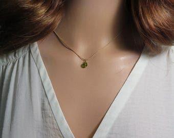 Tiny Peridot Necklace, Birthstone, Minimalist Gold Necklace, Simple Necklace, Green Necklace, 14K Gold Filled, Spring Green Necklace, Viyoli