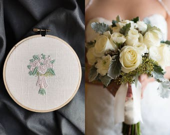 Custom Bridal Bouquet Embroidery Wedding Gift