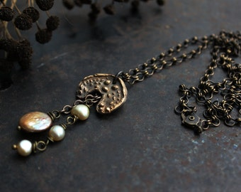 Maiden of the Moon - bronze clay crescent necklace, moon necklace with freshwater pearls, lunula necklace, Nordic mythology necklace
