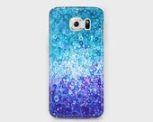 Blue & White Monochrome Samsung Phone Case - Unique Teal, Turquoise, and Indigo Art Case for Samsung Phones - Galaxy S4/S5/S6/S7 Edge Ace