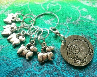 5 Curly horn sheep stitch markers for knitting or crochet