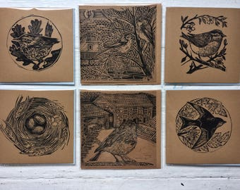 Hand printed lino cut cards