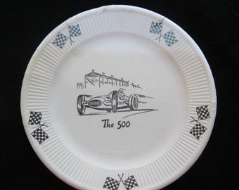 HOLIDAY SALE Vintage 50s NOS Indianapolis Indy 500 Race Day Party Paper Plates