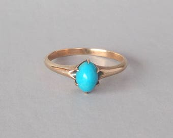 Antique Victorian Turquoise Ring. Oval Solitaire. 10k Gold. Size 5.75