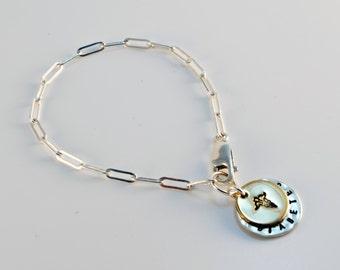 Two Tone Medical Alert Charm Bracelet - Customize - Diabetes - Epilepsy
