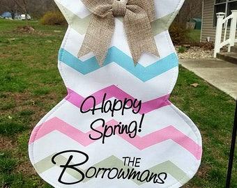 Bunny garden flag / Easter / spring garden flag / yard decoration / Personalized hanging bunny / outdoor decoration / custom outdoor decor