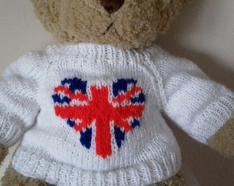 Teddy Bear Sweater - Hand knitted - White with Union Jack Heart Motif - fits Build a Bear