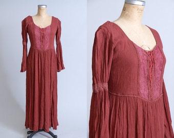90s Pagan Dress Blush Red Corset Front Bell Sleeve Rayon Maxi Dress