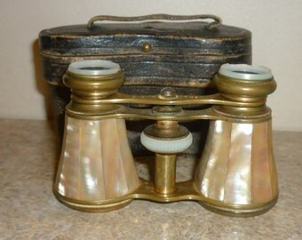 Antique Opera Glasses VERDI PARIS French Mother Of Pearl With Leather Case...Good Condition