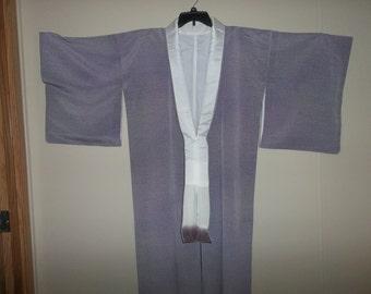 Vintage Japanese Silk Wedding Kimono..Purple Gradiation..New Old Stock..1970Era..Perfect Condition
