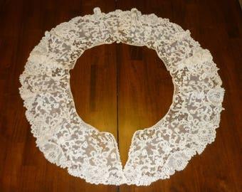 """1 Antique Brussels Duchesse Point De Gaze Lace BERTHA Collar..Lace 6"""" Wide by 74"""" Perfect Bobbin Lace 1880 era"""