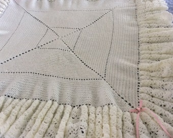 Baby blanket crochet, off white with extremely full ruffle, 4 tier design, soft quality Paton beehive baby yarn, Christening, Welcome home