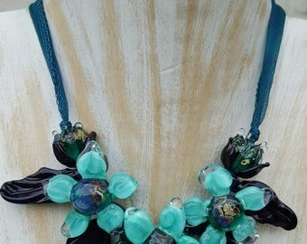 Mermaid Lampwork Flower Necklace -  Glass  Flower Necklace, Hand Made Necklace  SRAJD, FHF Y3