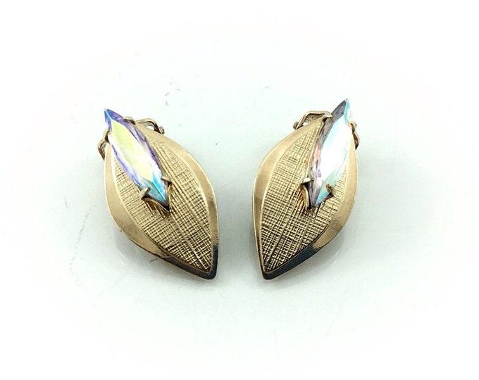 Vintage Gold Leaf Aurora Borealis Rhinestone Earrings, Gold tone Detailed Vintage Leaf Earrings, Aurora Borealis Earrings. Unique earrings.