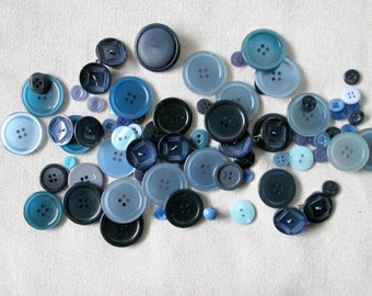 Blue Sewing Buttons Assortment, Mix and Match Buttons Lot, Assorted Bulk Buttons, Bulk Round Plastic Buttons, Opalescent Buttons