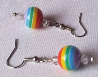 Rainbow and Clear Swarovski Crystal Beaded Earrings
