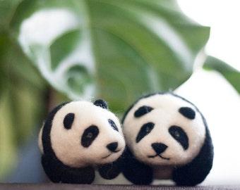 Needle Felted Panda, Needle Felted Animal, Plush, Felt Animal, Bear, Toy, Ornament, Zoo, Panda Bear - Peter