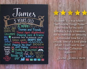 """Favorite Things Poster™ custom 3rd birthday chalkboard style ink drawing on 16""""x20"""" canvas"""