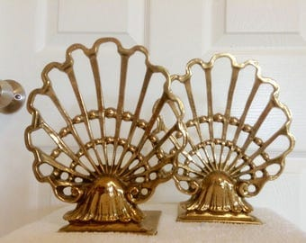 large vintage brass open deco style sea shell nautical coastal bookends seashell modernist