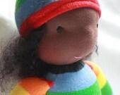 Chocolate skin Rainbow doll made with local sheeps wool