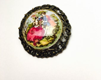 Victorian Couple Scarf Clip/Brooch, Painted Porcelain, Antique Gold Tone Filigree, Clearance Sale, Item No. B063