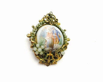 Art Deco Brooc, Victorian Couple,  Antique Gold Tone Filigree, Retro, Boho Jewelry, Item No. B113