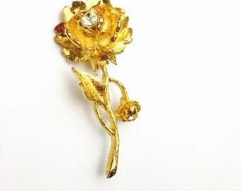 Rose Brooch, Gold Tone, Clear Rhinestones, Vintage Brooch, Clearance Sale, Item No. B404
