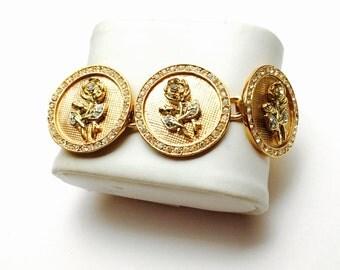 Vintage floral Bracelet, Gold Tone, round, clear rhinestones, Pre Holiday Sale, Item No. B475