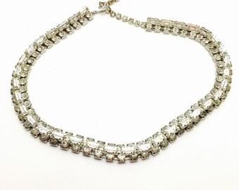 Bridal Rhinestones Choker/Necklace, Vintage Wedding, Clear, Rhinestones, Silver Tone, Baguette Cut, Item No. B570
