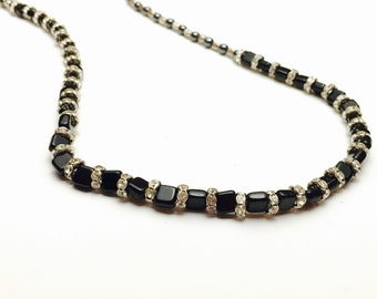 Onyx Necklace, Silver Tone Spacers, Clear Rhinestones, Fine Vintage Jewelry, Clearance  Sale, Item, No. B706