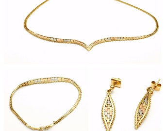 Italian gold set Vintage 80's tricolored 14K Gold Necklace, Earrings & Bracelet Set, Clearance Sale, Item No. S259
