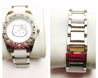 White Sanrio Hello kitty wrist Watch, silver tone/Rhinestones, Collectors, Clearance Sale, Item No. B241