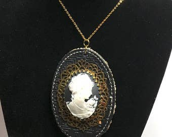 Black leather & White  cameo Pendant/Necklace, gold tone, Clearance SALE, Item No. B207