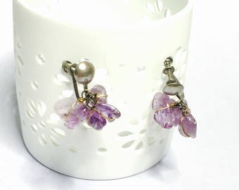 February Birthstone Amethyst Screw On Earrings, Antique Sterling, Item No. S048