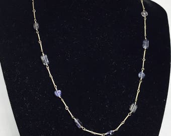Silver Wire Choker/Necklace, Amethyst Beads, February Birth Stone, Clearance Sale, Item No.S167