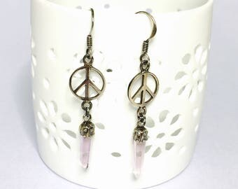 Vintage silver Peace sign Earrings, Stamped, Amethyst quartz , Clearance Sale, Item No. S182