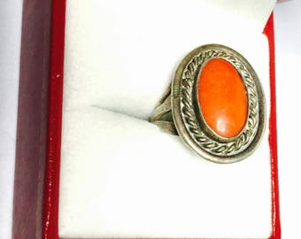 Silver Coral ring size 6.5, vintage native design, Clearance sale, item no. S242