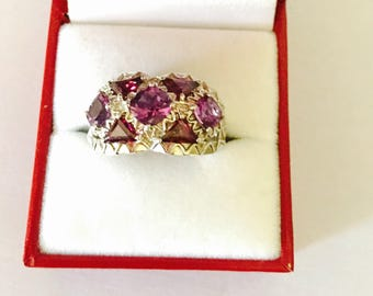Large amethyst ring Size 10., Vintage silver, stamped, Clearance Sale, item No. S504