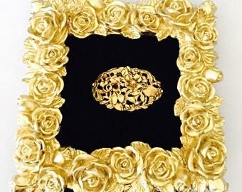 Vintage Floral Scarf Clip, Feminine Vintage Art Deco  Design, Gold Tone, Clearance SALE, Item No. B279