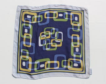 Sixties Abstract Square Pattern Fabric- Vintage Squares patten handkerchief Scarf  - pocket square fabric