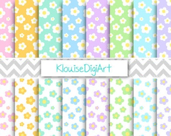 Spring Pastel Daisies Printable Digital Papers for Personal and Small Commercial Use (0280)