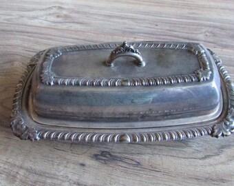 Vintage Pilgrim Silver Plated Covered Butter Dish Ornate Tabletop Server