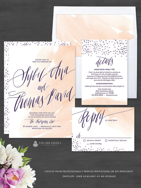 Watercolor Wedding Invitations 3 Piece Invitation Set Romantic