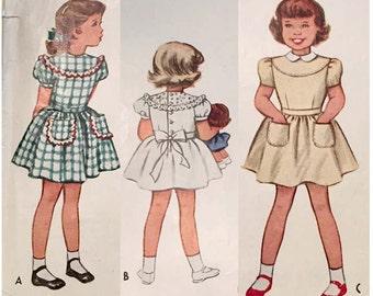 Vintage 1948 McCall's Vintage Girls' Dress Pattern 7366 Size 6