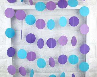 Blue Purple Garlands, Party Decorations, Mermaid Birthday Circle Garlands, Mermaid Backdrop, Girl's Birthday Decor, Baby Shower, Cake Smash