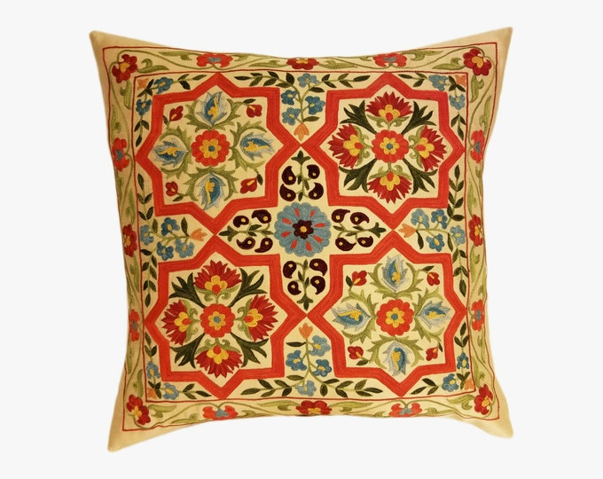 Hand Embroidered Suzani Pillow Cover SP7-02, Suzani Pillow, Uzbek Suzani, Suzani Throw, Boho Pillow, Decorative Pillows, Accent Pillows